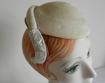 Vintage Cream Straw Hat with Beading 1950s