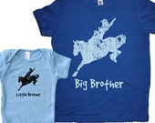 Big Brother Shirt / Little Brother Matching Shirt Set - Brothers T Shirt Gift Set Baby Shower New Baby Present - Cowboy Big Brother Twinning