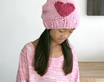 Chunky Knit Slouch Hat with Heart // Blossom and Raspberry// The Heart Chelsea