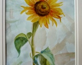 Sunflower Original Watercolor Painting OOAK Art