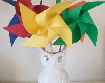 Birthday Decoration Carnival Circus Decor Primary color Party - 6 large Pinwheels Primary colors (Custom orders welcomed)