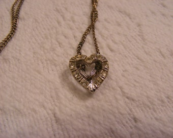 Vintage Crystal Silvertone Heart Peace Sign Necklace, Sweetheart Necklace, Valentines Day Necklace