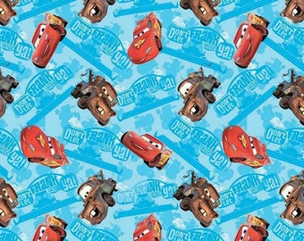 Disney Cars Watch Out For Frank Lightning McQueen and Mater on Blue Cotton Fabric by Springs Creative