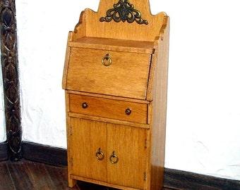 Oak Desk, Dollhouse Miniature 1/12 Scale, Hand Made in the USA