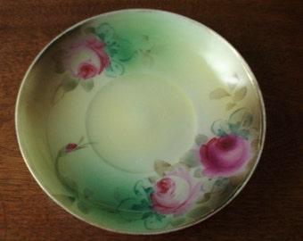 Antique Porcelain Teacup Saucer, Dresser Tray, Lovely Cabbage Roses, Gold Edging