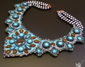 beadwork,bead embroidery necklace with turquise, baltic amber,tiger eye, falcon eye, keshi pearls,freshwater pearls, copper and toho beads.