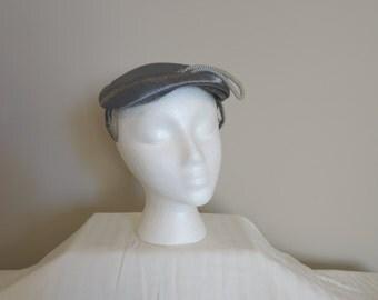 Vintage Hat, Retro Hat, Derby Hat, Womens Accessories, Boho style, French vintage, Satin Blue tilt hat fascinator hat
