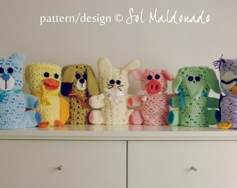 BUNDLE 7  Baby Blanket Crochet Pattern PDF -  amigurumi toy & blanket - newborn baby shower nursery gift blankie -  Instant DOWNLOAD