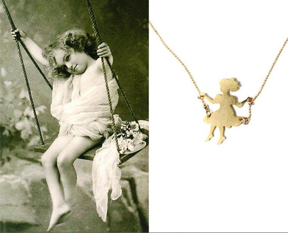 Girl on a swing, gold filled necklace, Little girl charm, girl pendant, retro style necklace, romantic necklace, minimalistic necklace,