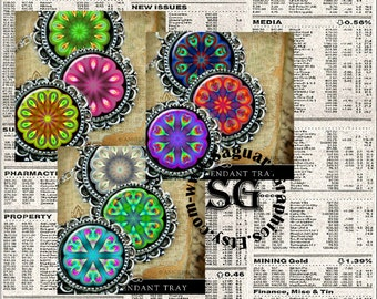 Kaleidoscope Roses Art - Digital Collage Sheets - 1.5 inch Circles for Jewelry Makers, Pendants, Magnets, Arts & Crafts