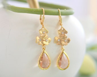 Champagne and Gold Bridesmaid Earrings. Jewel Bridesmaid Earrings. Bridal Drop Earrings. Gold Fashion Earrings. Christmas Gift.