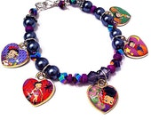 Spooky Betty Boop collectible heart charm bracelet, Betty Boop bracelet, gothic bracelet, black bracelet, heart bracelet, cartoon bracelet