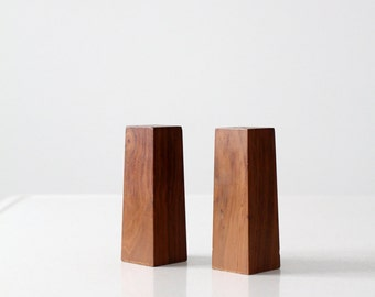 mid century wood salt and pepper shakers, wooden taper shakers