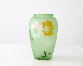 vintage satin glass vase, painted frosted green glass vase