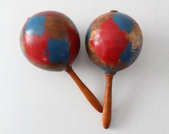 maracas, vintage maraca pair, painted wood maracas instrument