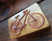 BICYCLE SOAP, Bike Soap, Copper and Gold Colored, Cyclist Soap, Mountain Bike Soap, Party Favors, Vintage Bike