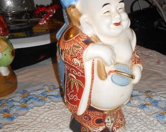 Chinoiserie vintage Satsuma moriage Buddha porcelain sake decanter