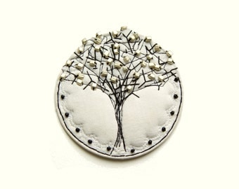 Wall ornament, White Winter Tree, TREE Ornament, White Tree, Beaded Ornament, Wall Decor, White Decor, black white silver, high craft