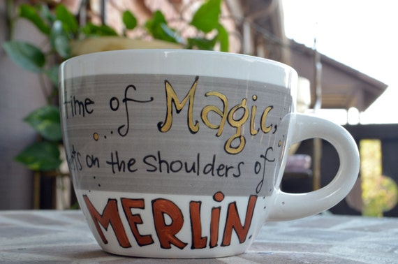 "Merlin ""In a land of myth and a time of magic"" Hand painted quote mug - Sm/Med White and Grey teacup mug - Geeky"