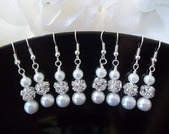 YOU CHOOSE COLOR,4 Pairs Bridesmaids Earrings,Pearl and Rhinestone Bridesmaid Earrings,Ivory Bridesmaid Jewelry,4 Pairs Pearl Earrings