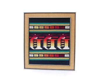 Vintage Wall Tapestry Mid century Tribal African Framed Textile Art Indian Folk Art Guatemalan Quetzal Bird