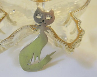 Vintage Taxco Sterling Silver Kitty Cat Pin or Pendant Signed