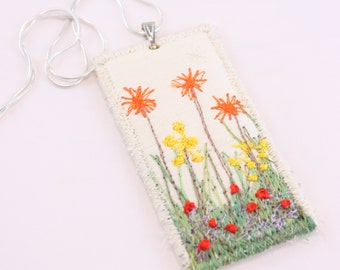 Spring Garden Embroidered daisy pendant fiber fabric necklace garden lover silk embroidered tulips textile art