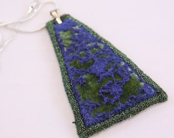 Embroidered pendant fiber embroidered ocean cobalt blue moss green steampunk necklace textile costume jewellery embroidered ready to ship