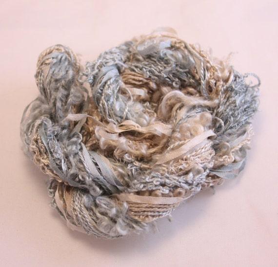 Beige Grey Silk Sewing Thread Silk Ribbon By NellsEmbroidery