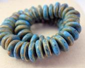 Large Strand of Blue Green Glazed Ceramic Beads