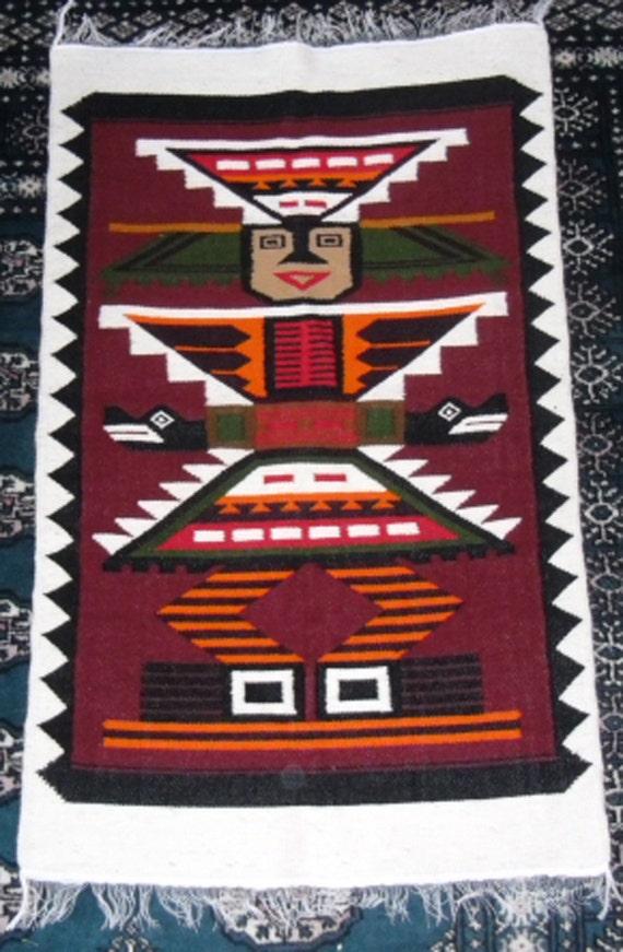 vintage tapisserie native mexicaine azt que tapisserie. Black Bedroom Furniture Sets. Home Design Ideas