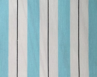 Cotton Fabric - Blue and White Stripes - 4 yards