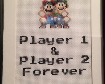 Super Mario: Friendship cross stitch