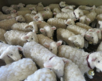 One Dozen  White lambs  Wool Needle felted  sheep with bells