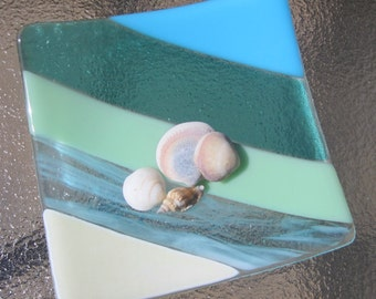 Fused Glass Plate, Ocean Beach Glass Plate, Turquoise Blue, Mint Green, and French Vanilla, Sea Glass Plate, Glass Sand, Sea and Sky