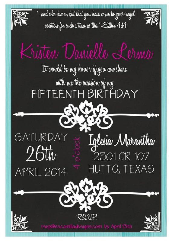 chalkboard 15th birthday quinceanera invitation, Birthday invitations