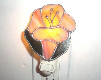 LT Stained glass mix orange red Morning Glory flower night light lamp