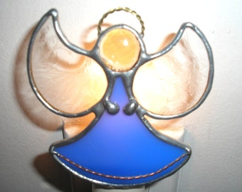 LT Stained glass blue Angel night light lamp made with dark opal glass