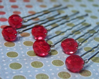 6 Light Red 8mm Crystal Hair Pins