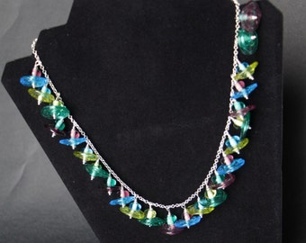 Handcrafted Transparent Disc Lampworking Sterling Silver Necklace- Aqua, Apple Green, Purple, & Teal