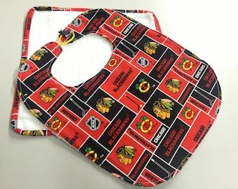 Chicago Blackhawks 6 Months & Up Baby Bib w/washcloth Set_White Terry Cloth