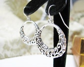 Silver Plated  Cutout Hoops  Wedding Earrings Bridal Party Gifts