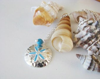 Great Bridesmaids gifts Turquoise Bead sand Dollar Chain Necklace Beach Wedding Party Jewelry
