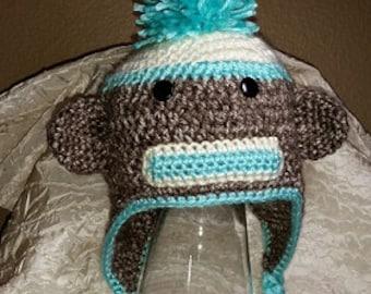 Sock Monkey Earflap Hat for Adult