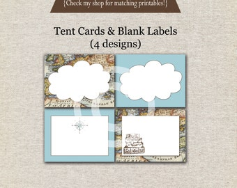 World Traveler Tent Cards - blue - INSTANT DOWNLOAD | Traveler Buffet Cards | Traveler Labels | Traveler Birthday Party Printables