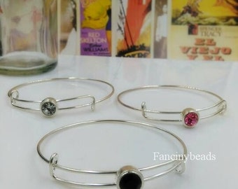 15 pcs fabulous adjustable  basic bangles wired bracelet findings-F1369/with three mix colours slide stone
