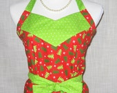 Christmas Apron Christmas Trees Full Size Womens Apron 100% Cotton Fabric with Flounce Red Green Trees Polka Dot