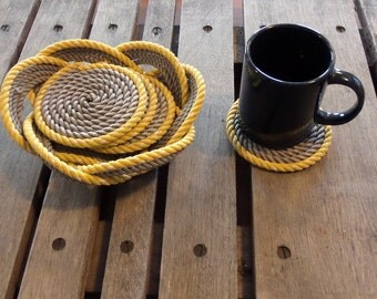 Rope Coasters Grey with Yellow Accent With Rope Knotted Basket to Hold them. Nautical Beach Coastal