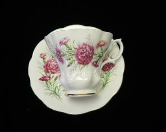 """Royal Albert Bone China Cup and Saucer """"Carnation"""" One of the Friendship Series Patterns"""