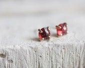 Rose Cut Garnet Stud Earrings 14k Gold Fill Prong Set